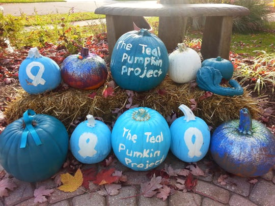 The home of Christine and Timothy Habib of Rochester will be decorated to the hilt with teal pumpkins to raise awareness of life-threatening food allergies this Halloween. Their son, Elias, is allergic to peanuts.