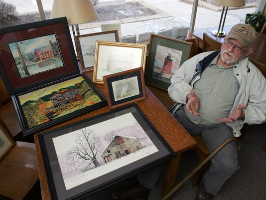 Paintings of historical sites and landscapes around Coshocton County by artist Dave Snyder will be displayed at the West Lafayette Library during the month of April. Snyder uses a variety of mediums in his art, including watercolor, acrylics, pencil, and i