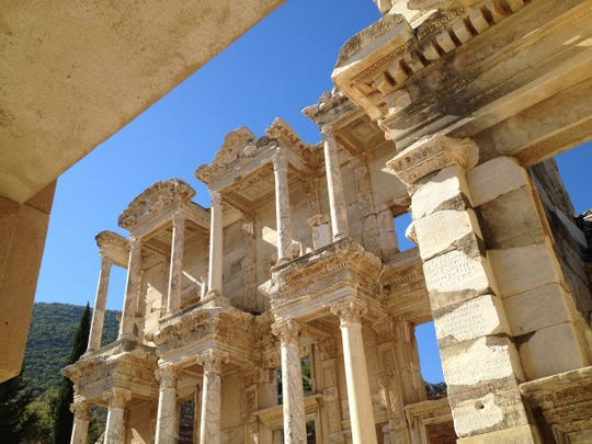 The facade of the Library of Celsus in Ephesus, Turkey, dates from the 2nd Century. It is part of a larger site that once was a glorious Roman city.