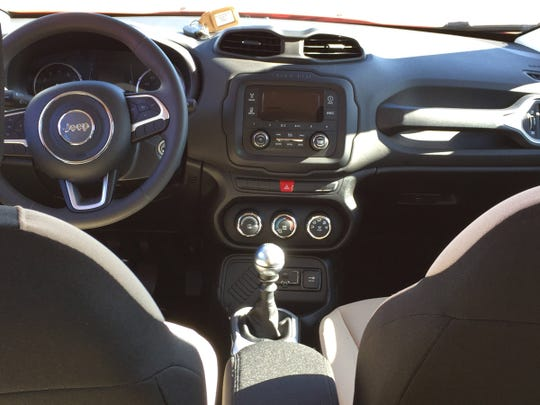 Interior of a 2015 Jeep Renegade. It is photographed
