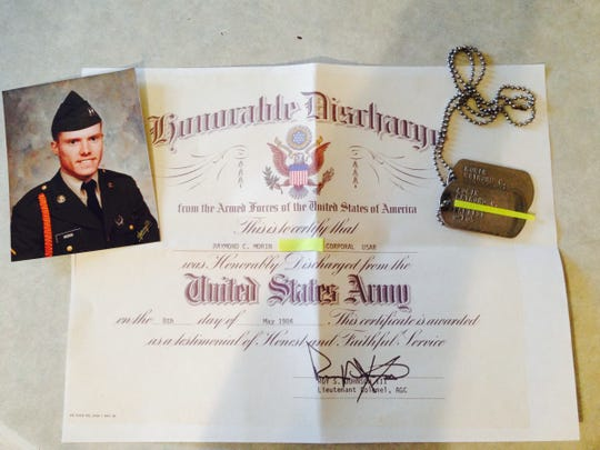 Raymond C. Morin, pictured here when he was enlisted in the Army, got his dog tags back late last month. The tags had been missing, lost in the woods in Pittsfield Township, for about 25 years. Morin was discharged from the Army as a corporal in 1984. Kelley Piekarek, a nurse from Adrian, found the tags while geocaching and then began a weekslong search for Morin.