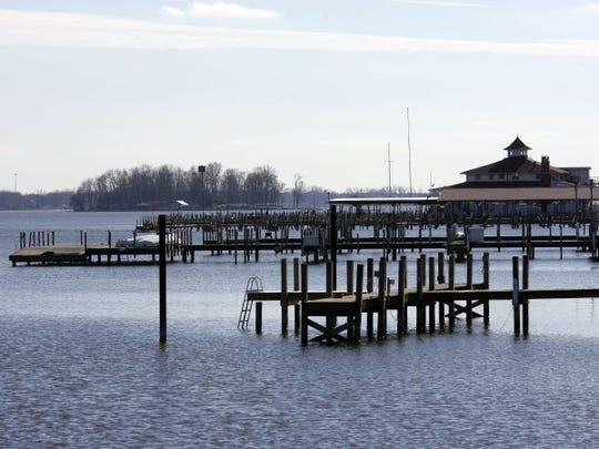 Docks sit empty along the north shore of Buckeye Lake as water levels remain low.