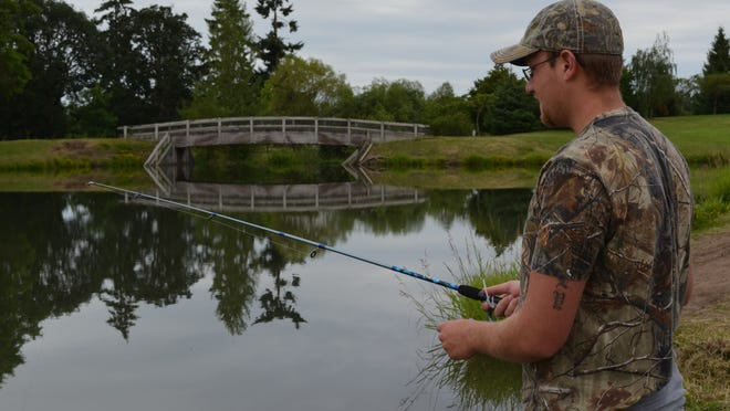 Fishing at Timber Linn Lake will be productive this week after 95 brood rainbow trout are stocked. Here Jeremy Kekacs of Albany tries his luck in 2013.