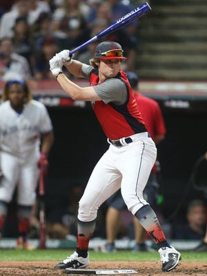 Blaze Jordan of Desoto Central High School in Southhaven MS competes in the 2019 High School Home Run Derby at Progressive Field. The Red Sox selected the high school slugger with the 89th overall pick in the 2020 abbreviated MLB Draft.