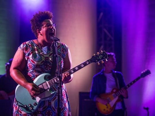 Brittany Howard, of the Alabama Shakes performs for a rain drenched Tallahassee crowd at the Cascades Park Amphitheater.