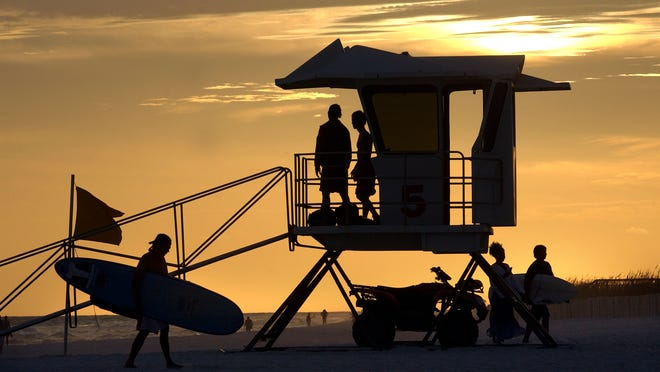 Yellow flag conditions with strong surf and dangerous rip currents kept lifeguards busy all weekend. Lifeguards successfully pulled 27 swimmers out of the Gulf on Saturday and 19 on Sunday.