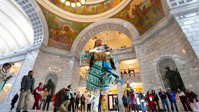 Tayler Gutierrez, of Sandy, and a member of the Cherokee and Blackfeet nations, performs the Jingle Dress dance during an event to raise awareness for HB116 in the Capitol rotunda in Salt Lake City on Tuesday. The bill would create a Murdered and Missing Indigenous Women and Girls Task Force.