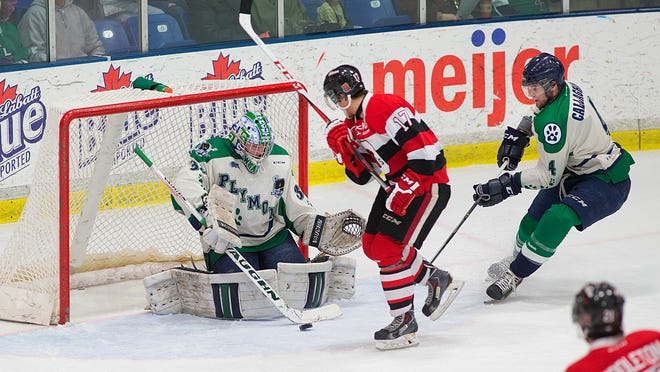 Plymouth Whalers goalie Alex Nedeljkovic makes one of his 37 saves Saturday night against Ottawa's Travis Konecny. At right for Plymouth is defenseman Sean Callaghan. The Whalers wore specially designed uniforms to benefit the Michigan Humane Society on Pucks and Paws Night.