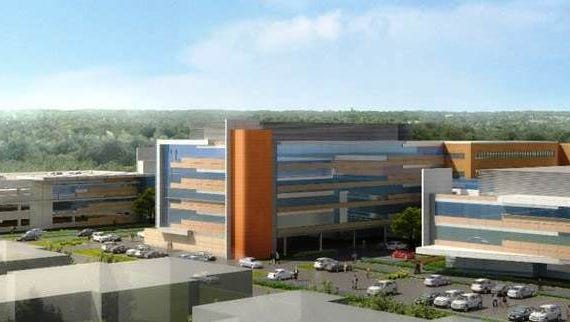 Architectural rendering of the future Beaumont Hospital, Farmington Hills, when its expansion and renovation project is finished in 2019.