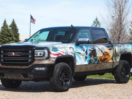 This 2016 GMC Sierra truck is the first charity car scheduled for auction at Barrett-Jackson Scottsdale on Thursday, Jan. 19, 2017.