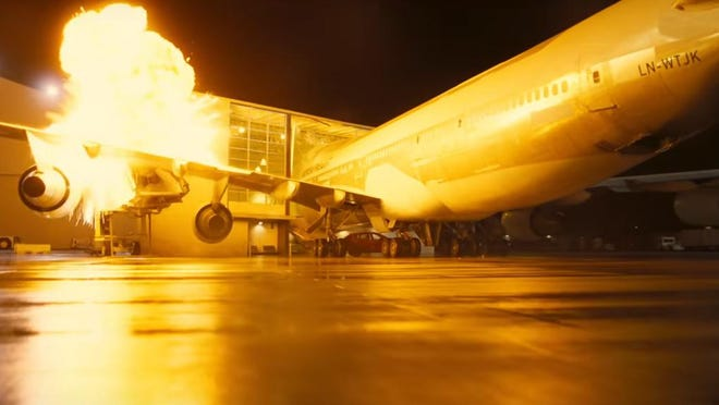 """A scene from director Christopher Nolan's upcoming film, """"Tenet,"""" includes a 747 airliner crashing into a hanger. The scene was filmed last year at Southern California Logistic Airport in Victorville."""