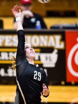 Anderson University junior Marissa Mitter spikes the ball during the AU volleyball game against Brevard on Saturday, October 29, 2016 in Anderson.
