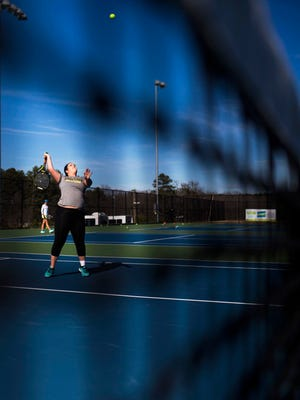 Anderson University junior Ivey Welborn practices tennis on Thursday, February 16, 2017 in Anderson.