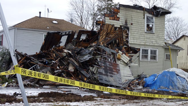 The remains of a home on Harris Avenue in Middlesex Borough after a fire destroyed it.