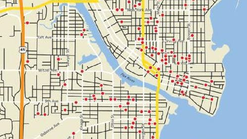 Sex offender locations in the city of Oshkosh