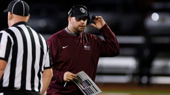Don Bosco head coach Mike Teel during the game against Bergen Catholic at Don Bosco's Granatell Stadium in Oct. 27, 2017.