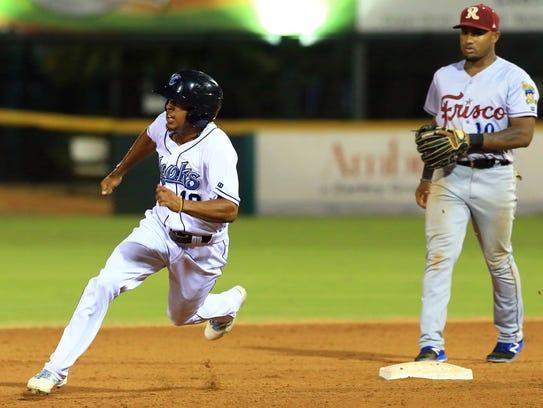 Hooks' Antonio Nunez runs to third base against Frisco