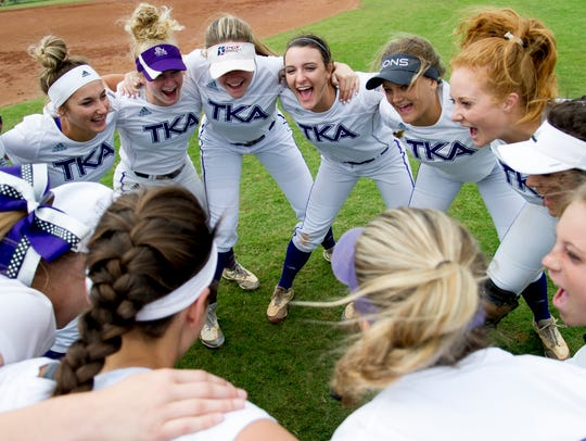 TKA huddles during a Division II Class AA softball