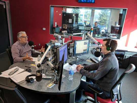 Michael (Stoney) Stone, left, and Jamie Samuelsen do their morning radio show on WXYT-FM (97.1) on March 9, 2017.