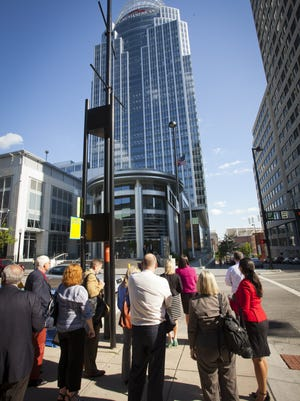 Local economic development and business leaders gave six site selectors from across the U.S. a tour in 2014, including showing off the Great American Tower, the region's tallest building.