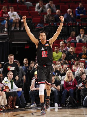 UK-bound big man Skal Labissiere during a game in April between the USA Junior Select Team and the World Select Team at the Rose Garden Arena in Portland, Oregon.