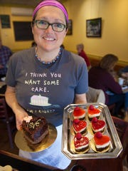 Alison Lane, co-owner and chef at Mirabelles in Burlington, showcases her Valentine's Day sweets in this 2016 file photo.