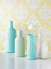 Valspar's Milk Glass spray paint can be used on metal, glass or wood and comes in four pastel hues: white, pink, celery green and Trousseau blue.