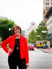 Stephanie Brown, Asheville's tourism chief, at Pack