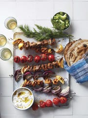 Kebabs are an easy dish to prepare for a block party; they can be grilled ahead of time and set on the buffet, and the options for meat eaters and vegetarians are extensive.