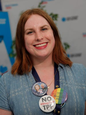 Jul 26, 2016; Philadelphia, PA, USA;Anita Green is the first openly transgender delegate from Montana.  She is one of 28 transgender delegates at the  the 2016 Democratic National Convention at Wells Fargo Arena. Mandatory Credit: Steve Elfers-USA TODAY NETWORK
