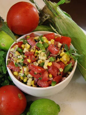 Roasted Corn Salad features fresh Jersey tomatoes right out of the garden.