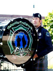 Landon Davis, a member of the Asheville Firefighters Pipes and Drums. Formed in 2010, the band boasts 12 pipers and drummers, all active-duty members of the Asheville Fire Department.