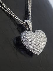 5.41 carat total weight pavé diamond heart necklace; 18K white gold setting and chain. $8950 from Diamond Vault Reno.