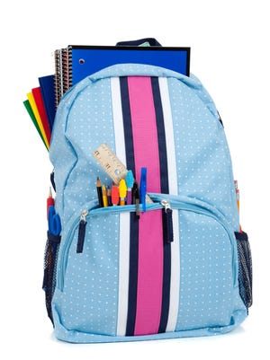 Blue and pink backpack with school supplies on a white background