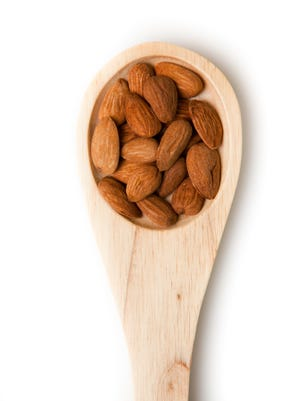 Nuts are full of unsaturated fats and protein. A 1-ounce serving is about 24 almonds.