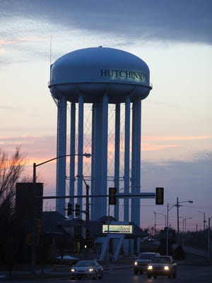The Hutchinson City Council on Tuesday will consider whether to install new lights to illuminate this million-gallon water storage tower on Avenue A from the ground up. The lights at the top of the tower have failed and city staff have recommended against replacing those.