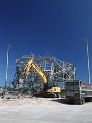 Image of the mate-demate device being demolished.
