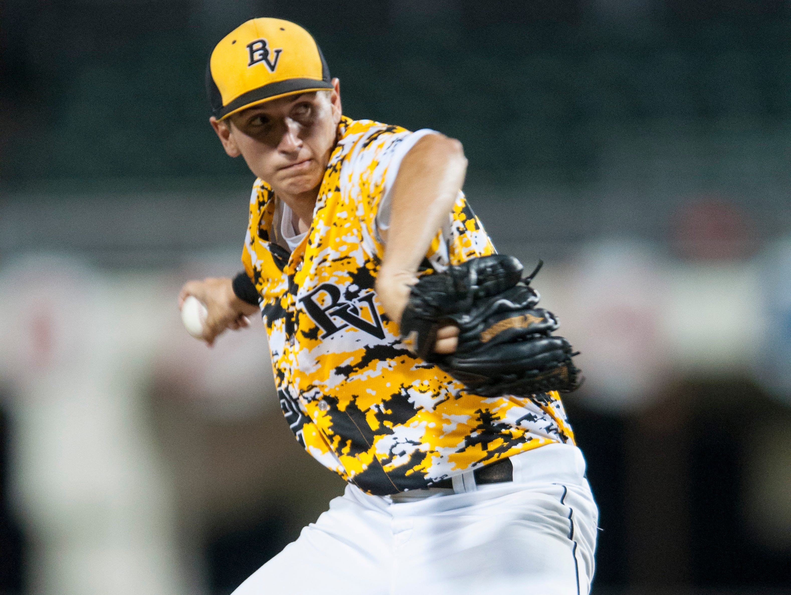 Thaddeus Ward pitches in the first inning for Bishop Verot in the Class 4A State Baseball final against Jacksonville Trinity Christian on Tuesday, May 19, 2015, at JetBlue Park in south Fort Myers.