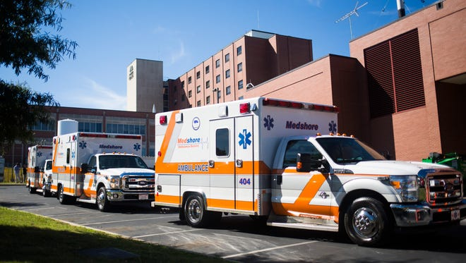 MedShore ambulances begin to transport Beaufort patients back home at AnMed Health Medical Center on Monday, October 10, 2016, in Anderson.