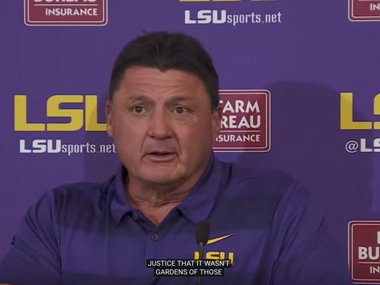 Closed captioning was no match for Ed Orgeron's postgame press conference