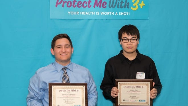 Pictured above are the first-place video winners from the 2017 Protect Me With 3+ immunization awareness contest: Spencer Friedman and Chris Eng, from Marlboro High School.