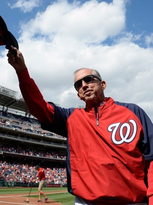 Washington Nationals manager Davey Johnson was honored prior to the Nationals' doubleheader against Miami.