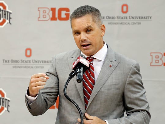 FILE - In this June 12, 2017, file photo, Chris Holtmann answers questions during a news conference introducing him the new men's head basketball coach at Ohio State in Columbus, Ohio. Holtmann will try to right the ship at Ohio State (AP Photo/Jay LaPrete, File)
