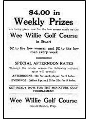 Advertisement in 1930 for Wee Willie Golf Course owned