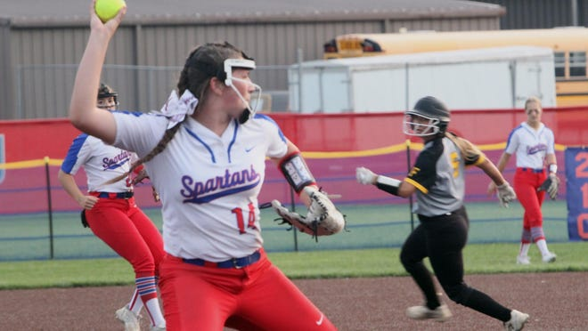 Moberly junior pitcher Madyson Klostermann fields a sacrifice bunt in the sixth inning of Tuesday's home softball game against Fulton. The Lady Spartans lost this North Central Missouri Conference contest 5-1.