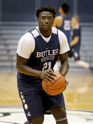 Butler men's basketball freshman Jerald Gillens-Butler practices at Hinkle Fieldhouse.