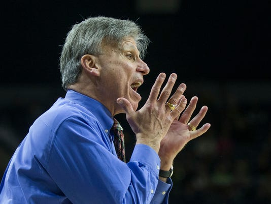 DePaul head coach Doug Bruno yells to players during the second half of an NCAA college basketball game against Notre Dame Sunday, Dec. 17, 2017, in South Bend, Ind. Notre Dame won 91-82. (AP Photo/Robert Franklin)