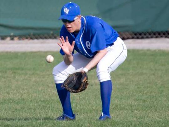 Oshkosh West's Tyler Whiteley prepares to field the ball on Peppler Field during a May 1, 2018, game against Oshkosh North.