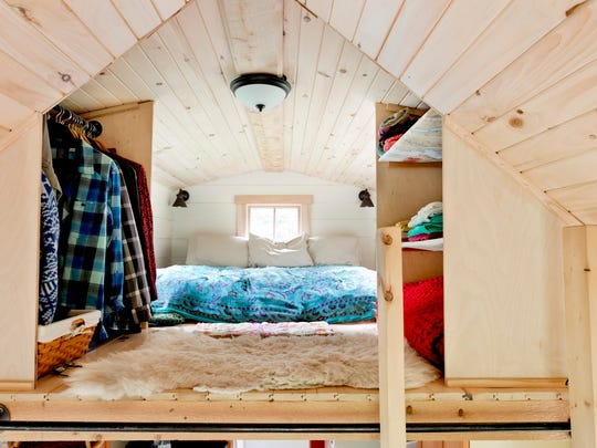The sleeping loft inside Ethan Walden's 220 square foot tiny house in Morrisville.