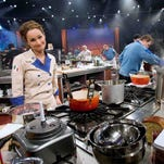 "In January 2006, Bobby Flay (left) and team-mate Giada De Laurentiis watch as their competitor Mario Batali puts the final touches on his dish for tasting.  As the third season begins, the hit Food Network series Iron Chef America, has added a new dimension with tag-team matches.  Iron Chef Mario Batali teams up with Rachael Ray as they battle in the ""Kitchen Stadium"" against Iron Chef Bobby Flay who teams up with Giada De Laurentiis during a taping of the show in New York"